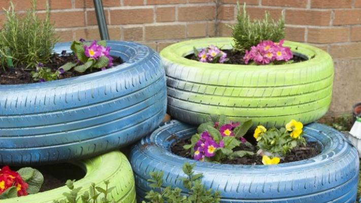 Image of flowers growing in upcycled tyres.