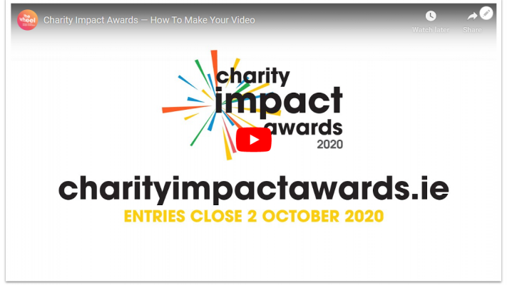 A screenshot of a YouTube video for the Charity Impact Awards