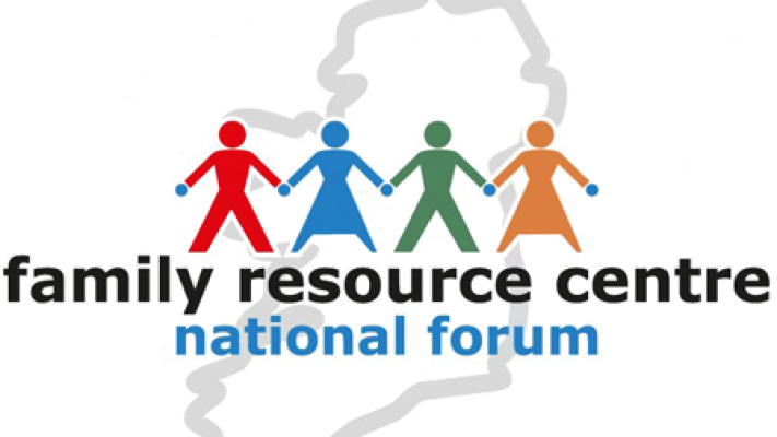 Family Resource Centre National Forum logo: four colourful figures holding hands, with an outline of Ireland in the background