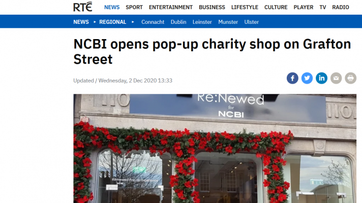 A photo of NCBI's pop-up charity shop on Grafton Street, on the homepage of RTÉ News