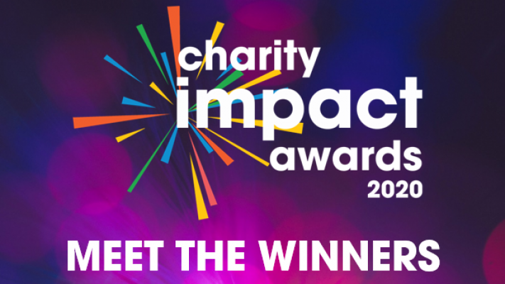 "Charity Impact Awards logo, with ""MEET THE WINNERS"" written underneath."
