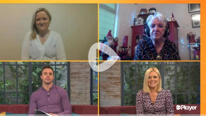 A screenshot of the interviewees and the hosts on a video call.