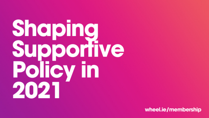 "Text on a purple/pink gradient background. The text reads, ""Shaping Supportive Policy in 2021""."