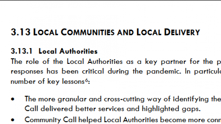 "Heading of section 3.13 of the Government's new living with COVID plan: ""Local communities and local delivery"""