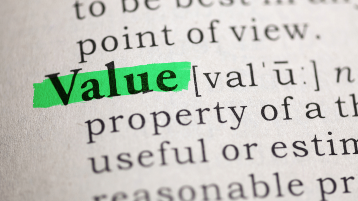 "The word ""value"" highlighted in a dictionary."