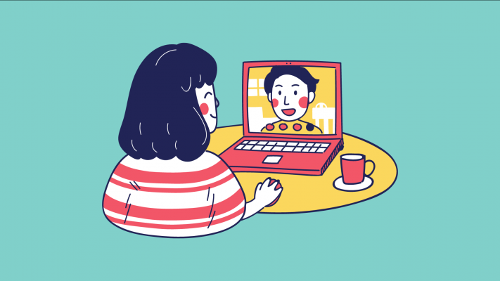 An illustration of a women speaking to another person on a computer screen.